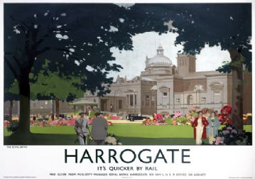 The Royal Baths, Harrogate, Yorkshire. Vintage LNER Travel poster by Fred Taylor. 1930